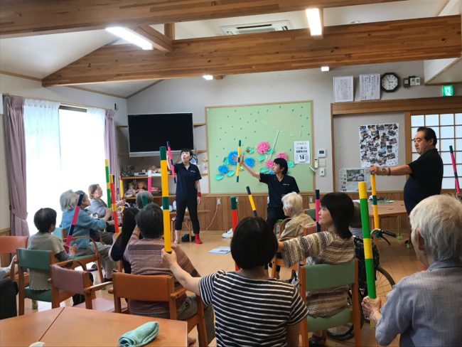 飯田市老人施設での体操教室